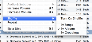 how to use shuffle by groupings in itunes