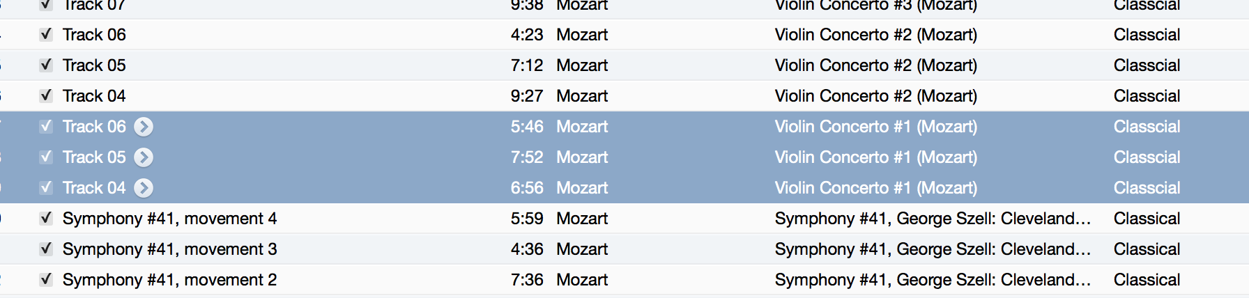 i-Tunes and Classical Music Movements in Correct Order